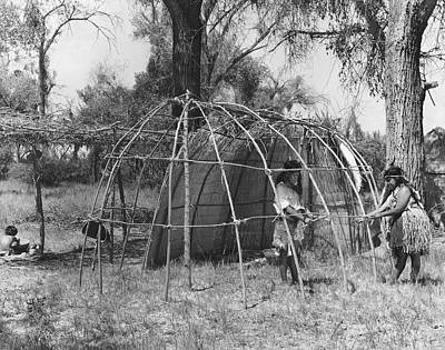 Photograph - Building A Yokut House by Underwood Archives Onia
