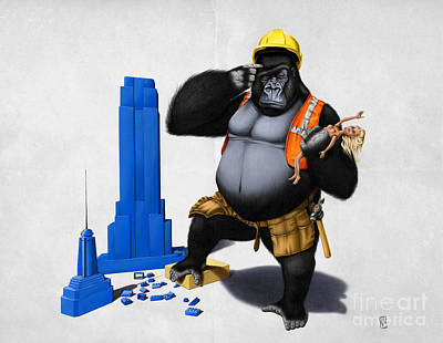 Gorilla Drawing - Building An Empire Wordless by Rob Snow