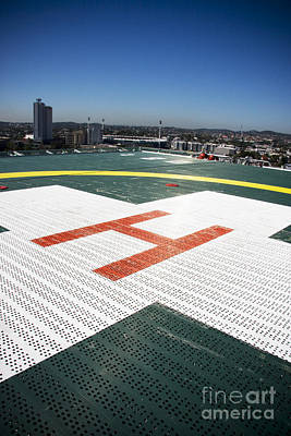Medical Helicopter Photograph - Building Top Helipad by Jorgo Photography - Wall Art Gallery