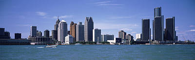 Wayne County Photograph - Buildings At The Waterfront, Detroit by Panoramic Images