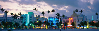 Beach Nobody Photograph - Buildings Lit Up At Dusk, Ocean Drive by Panoramic Images