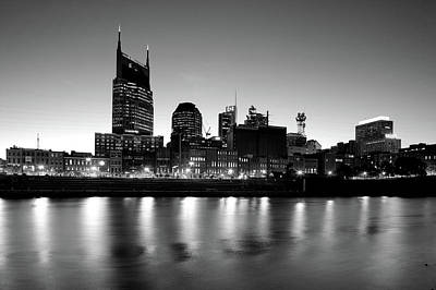 Cumberland River Photograph - Buildings Lit Up At Dusk by Panoramic Images