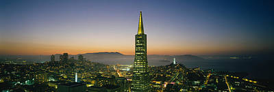 Buildings Lit Up At Dusk, Transamerica Print by Panoramic Images