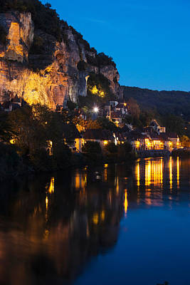Aquitaine Photograph - Buildings Lit Up At Evening, Dordogne by Panoramic Images