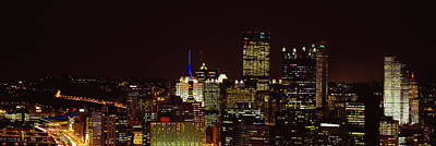 Downtown Pittsburgh Photograph - Buildings Lit Up At Night In A City by Panoramic Images