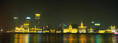 Bund Photograph - Buildings Lit Up At Night, The Bund by Panoramic Images