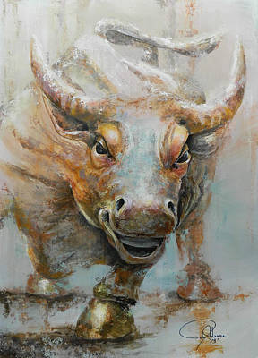 Abstract Impressionism Painting - Bull Market W Redo by John Henne