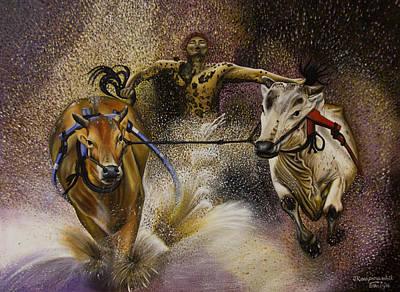 Canadian Sports Drawing - Bull Race by Joseph Karaparambil