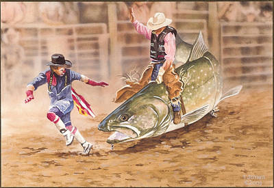 Painting - Bull Ridin by Tim  Joyner