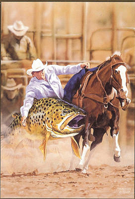 Painting - Bulldoggin A Brown by Tim  Joyner