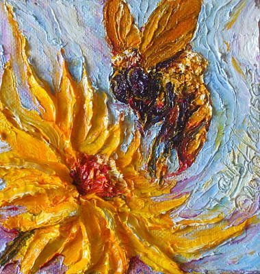 Bumble Bee And Yellow Flower Art Print by Paris Wyatt Llanso