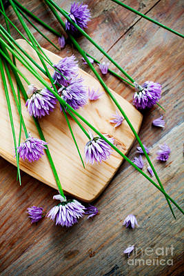 Photograph - Bunch Of Fresh Chives On Table by Kati Molin