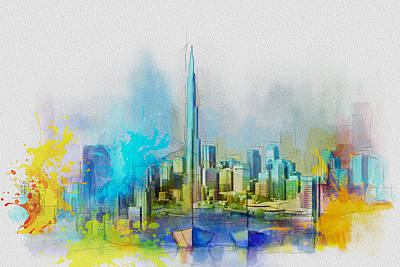 Painting - Burj Khalifa Skyline  by Corporate Art Task Force