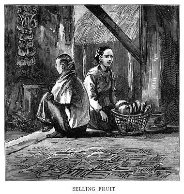 Burmese Python Painting - Burma Fruit Vendors, 1885 by Granger