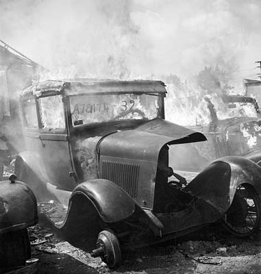 Scrap Photograph - Burning Car Circa 1942  by Aged Pixel