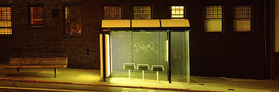 Window Bench Photograph - Bus Stop At Night, San Francisco by Panoramic Images
