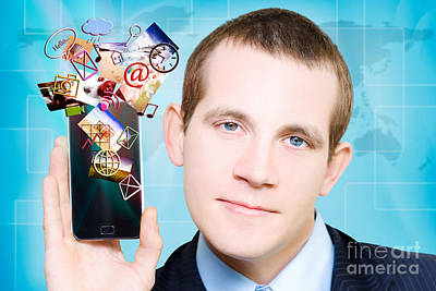 Business Man Steaming Media Apps On Smart Phone Art Print
