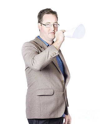 Business Man With Megaphone Art Print by Jorgo Photography - Wall Art Gallery