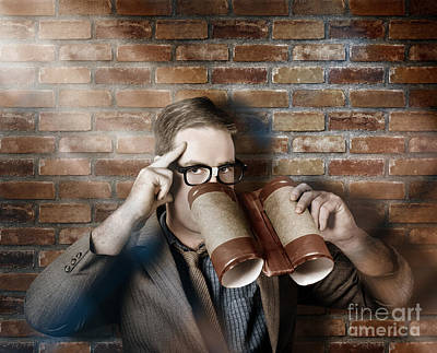 Business Spy Looking Through Innovative Binoculars Art Print