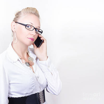 Business Woman Networking On Corporate Phone Call Art Print by Jorgo Photography - Wall Art Gallery