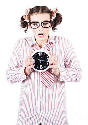 Specs Photograph - Business Woman Under Stress Holding Alarm Clock by Jorgo Photography - Wall Art Gallery