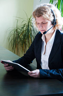 Ipad Design Photograph - Business Woman With Digital Tablet Pc And Headset by Frank Gaertner