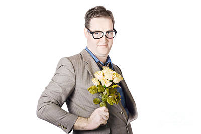 Holding Flower Photograph - Businessman Holding Bouquet by Jorgo Photography - Wall Art Gallery