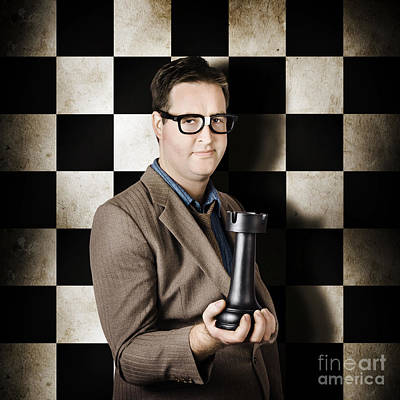 Mellow Yellow - Businessman in chess strategy leadership challenge by Jorgo Photography