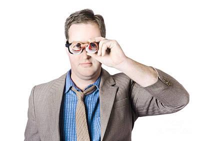 Scrutiny Photograph - Businessman Looking Through Paper Binoculars by Jorgo Photography - Wall Art Gallery