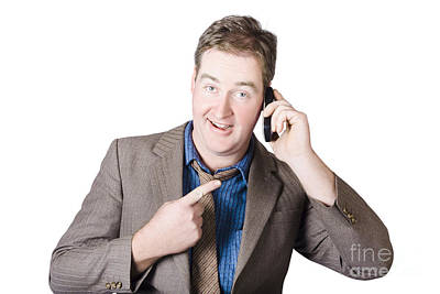 Businessman Receiving Good News On A Great Call Art Print