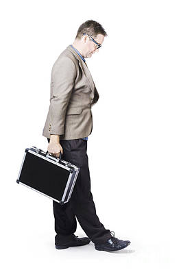 Businessman Travelling With Office Briefcase Art Print