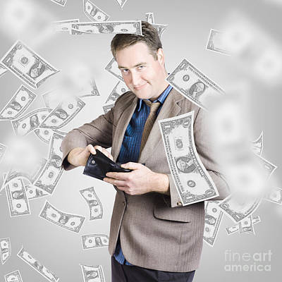 Businessman Under Falling Money. Financial Success Art Print by Jorgo Photography - Wall Art Gallery