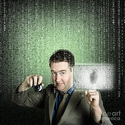 Digital Touch Photograph - Businessman Using Digital Security Data Protection by Jorgo Photography - Wall Art Gallery