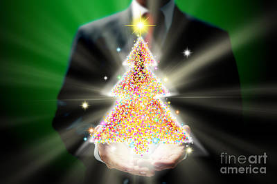 Finance Mixed Media - Businessman With Christmas by Atiketta Sangasaeng