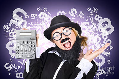 Keypad Photograph - Businessman With Finance Growth And Credit Surplus by Jorgo Photography - Wall Art Gallery