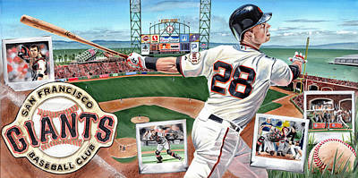 Buster Posey Painting - Buster Posey by Joshua Jacobs