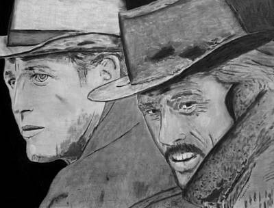 Bank Robber Drawing - Butch Cassidy And The Sundance Kid by Dan Twyman