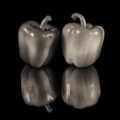 Photograph - Bw Two Peppers by Fred LeBlanc