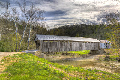 Music Royalty-Free and Rights-Managed Images - Cabin Creek Covered Bridge by Jack R Perry