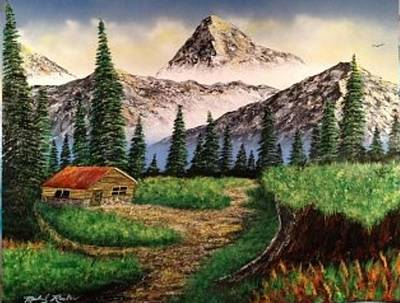 Art Print featuring the painting Cabin In The Mountains by Michael Rucker