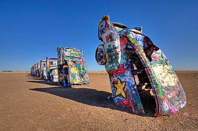 Transportation Royalty-Free and Rights-Managed Images - Cadillac Ranch by Peter Tellone