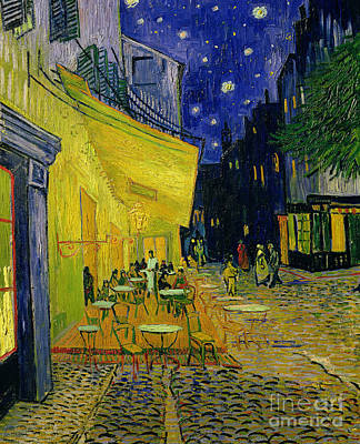 Cobblestone Painting - Cafe Terrace Arles by Vincent van Gogh