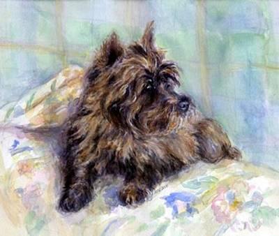 Cairn Terrier Painting - Cairn Terrier Dog Portrait  by Olde Time  Mercantile