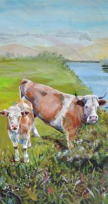 Cow And Calf Original by Mike Jory