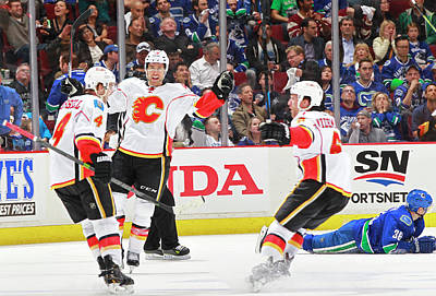 Photograph - Calgary Flames V Vancouver Canucks - by Jeff Vinnick