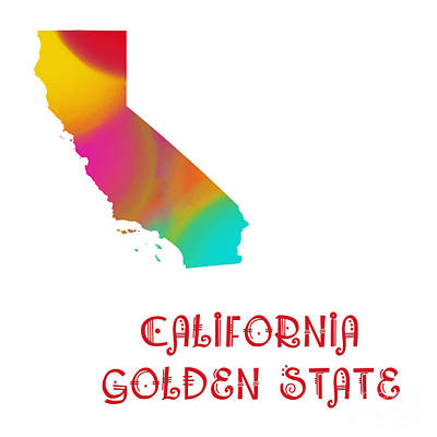 Digital Art - California State Map Collection 2 by Andee Design