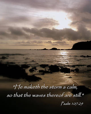 Calm Sea Psalm 107 Art Print by Cindy Wright