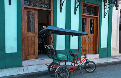 Old Street Photograph - Camaquey, Cuba Street Old Bike Carriage by Bill Bachmann