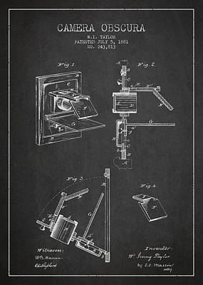 Vintage Camera Wall Art - Digital Art - Camera Obscura Patent Drawing From 1881 by Aged Pixel