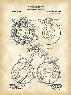 Nikon Digital Art - Camera Shutter Patent 1910 - Vintage by Stephen Younts